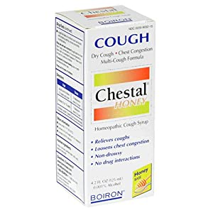 Boiron Homeopathic Medicine Chestal Homeopathic Cough Syrup, Honey, 4.2-Ounce Glass Bottles (Pack of 3)