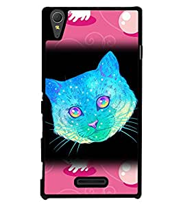 Fuson 2D Printed Cat Designer back case cover for Sony Xperia T3 - D4523