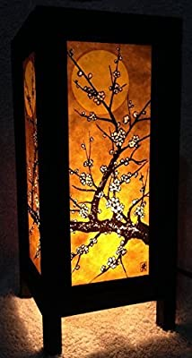 Thai Vintage Handmade ASIAN Oriental Art Japanese Sakura Cherry Blossom Tree Branch with Sun Light Bedside Table Lamp or Home Garden Decoration. by Thailand Lanna