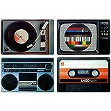 Retro Platzset / Tischset / Untersetzer - Set (Hifi-Geräte) im 80er Jahre - Design
