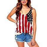 Women Chiffon American USA Flag Printed Tank Top(FBA)