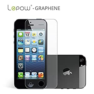Lepow® Graphene Tempered Glass Screen Protector for Apple iPhone 5 / iPhone 5S / iPhone 5C - Anti-Scratch, Bubble-free, Reduce Fingerprint