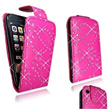Cellularvilla (Trademark) Case for Apple Iphone 3 3g 3gs Pink Glitter Diamond Leather Flip Open Case Cover Pouch