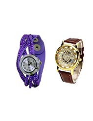 COSMIC COUPLE WATCH- PURPLE ANALOG DESIGNER WATCH FOR WOMEN AND BROWN SKELETON WATCH FOR MEN