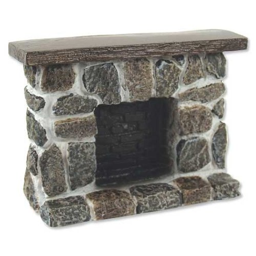 Dollhouse Miniature Gray and Tan Fieldstone Fireplace (Dollhouse Furniture Fireplace compare prices)