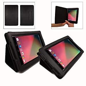 Nexus 7 Case - Black Soft Leather Case / Cover (with added stand function for your Nexus 7 Inch Tablet 8GB/16GB Versions) - Improved V2.0 Case + free stylus and screen protector