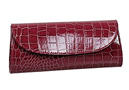 Bundle Monster Womens Envelope Evening Patent Croc Skin Embossed Clutch - PURPLE