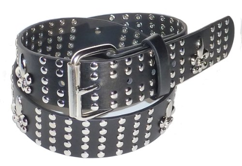 BeltsandStuds Goth Punk 5 Row Silver Spear Stud Studded Biker Belt M 34 Black