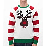 (アグリー) Ugly メンズ トップス セーター Christmas Sweater Reindeer Sweater White Heather Medium [並行輸入品]
