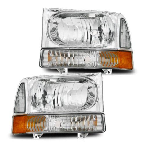 SPPC Headlights with Corner Light Chrome For Ford Excursion / Super Duty - (4 pcs) (Ford Headlight Assembly compare prices)