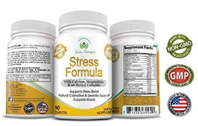 Stress & Anxiety Relief, Relaxation Herbal Dietary Supplement By Sain Templo - 100% Pure, Fast Acting, FDA Approved, Non GMO, Magnesium, Calcium & Vitamin Formula That Uplifts The Mood - 90 Capsules