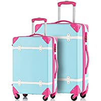 Merax Travelhouse 2-Piece ABS Luggage Set Vintage Suitcase (Blue and Rose)