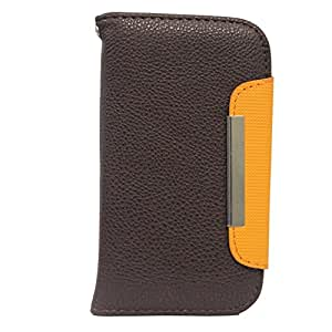 Jo Jo Z Series Magnetic High Quality Universal Phone Flip Case Cover Stand For Spice Stellar Mi 497 Brown Orange