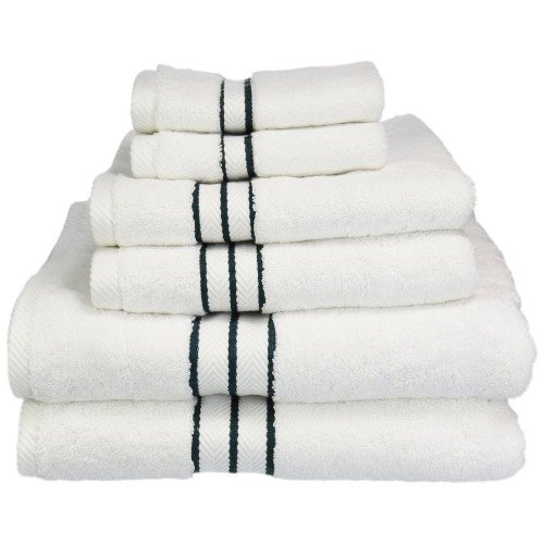 900 Gram 6-Piece Egyptian Cotton Towel Set by ExceptionalSheets White With Colored Lines, Teal (Turkish Bath Sheet 900 Gsm compare prices)
