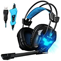 Sades PC Wired USB Stereo Gaming Headset Over Ear Headphones with Microphone Volume Control Vibration