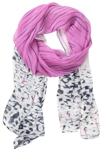 Womdee Gradient Color Leopard Print Chiffon Scarves Shawl,Roseo With Accessory