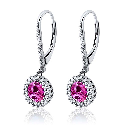 402-Ct-Round-Pink-Created-Sapphire-925-Sterling-Silver-Womens-Dangle-Earrings
