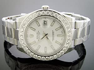 Unworn New Rolex Datejust Oyster Xl Diamond Watch 5.0ct Bezel 43mm White Face G/si1