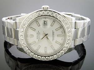 Unworn New Rolex Datejust Oyster Xl Diamond Watch 5.0ct Bezel 43mm White Face G/si1