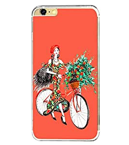 Girl with Flowers on Cycle 2D Hard Polycarbonate Designer Back Case Cover for Apple iPhone 6S