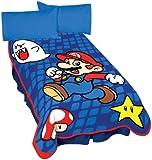 Nintendo Super Mario Leaping Mario Micro Raschel Blanket, 62 by 90-Inch