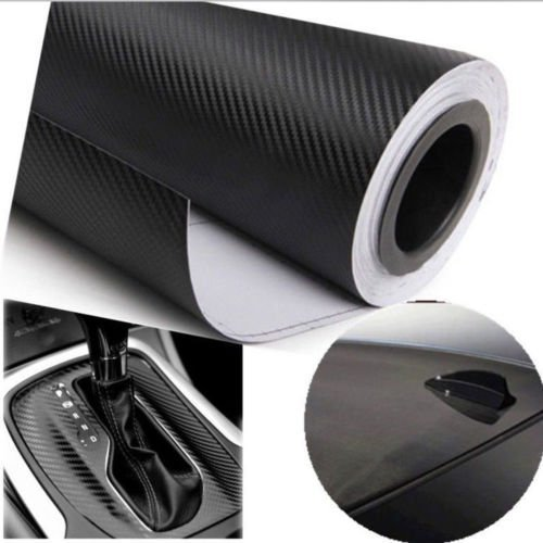 DELHITRADERSS 12″x24″ 3D Black Carbon Fiber Vinyl Car Wrap Sheet Roll Film Sticker Decal