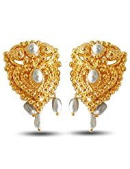 Surat Diamonds Temple Shaped Freshwater Pearl & Gold Plated Earrings For Women (SE64)