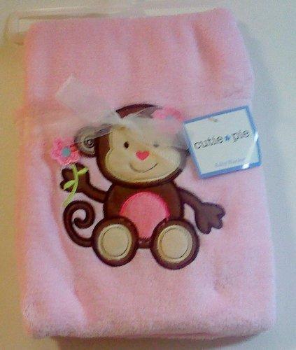 Cutie Pie Monkey Pink Baby Blanket - 1
