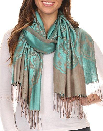 Sakkas 16116 - Maela Long Extra Wide Traditional Patterned Fringe Pashmina Shawl / Scarve - Turq / Grey - OS (Extra Wide Pashmina compare prices)
