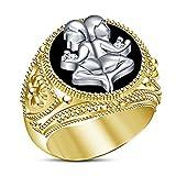 Vorra Fashion White Cubic Zirconia 925 Sterling Silver Two Tone Plated Black Enamel Gemini Zodiac Sign Ring