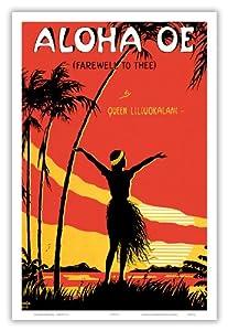 Aloha Oe (Farewell to Thee) - Famous Song by Queen Lili'uokalani (Liliuokalani) of Hawai'i - Vintage Sheet Music by LeMorgan c.1915 - Hawaiian Master Art Print - 12 x 18in