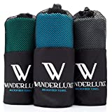 "Search : Wanderluxe Microfiber Travel Towel XL / Swimming Towel Set | Super Absorbent and Fast Drying | Bath Towel (60"" X 28"") with Hand Towel & Storage Bag! Perfect for Beach, Gym, Camping, Yoga"