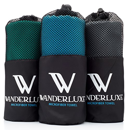 Wanderluxe Microfiber Travel Towel XL / Swimming Towel Set | Super Absorbent and Ultra Fast Drying | Bath Towel (60″ x 28″) with Hand Towel & Storage Bag! Perfect for Sports, Beach, Gym, Camping