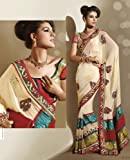 Cream Faux Georgette Saree / Sari