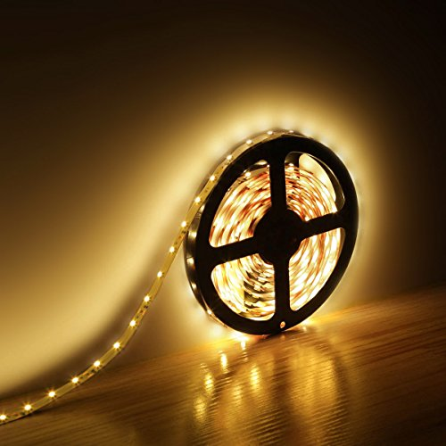 Le 12V Flexible Led Strip Lights Kit, Led Tape, Warm White, 300 Units 3528 Leds, Non Waterproof, Light Strips, Pack Of 5M, All Accessories Included