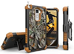 LG STYLO 2 CASE CLIP, TRI-SHIELD AUTUMN LEAF TREE CAMO WOODS RUGGED REALTREE CASE + BELT CLIP HOLSTER + SCREEN PROTECTOR FOR LG STYLO-2 4G PHONE (Boost Mobile LS775, Cricket K520) (aka Stylus-2)