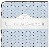 SwaddleDesigns Ultimate Receiving Blanket, Brown Polka Dots, Pastel Blue