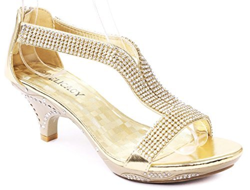 Delicacy Women Lety73 Rhinestone T-Strap Evening Dancing Dress Low Heel Sandals,Gold,7.5