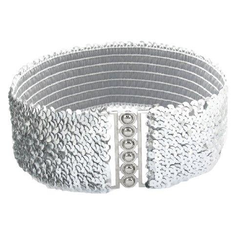 Women Interlock Buckle Silver Tone Sequin Decor Elastic Cinch Belt