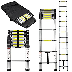 12.5 Foot Telescoping Extension Ladder ANSI Standard EN131 (12.5FT Ladder W/ Ladder Bag)