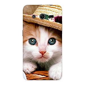 Special Cute Kitty Hat Multicolor Back Case Cover for Galaxy Core 2