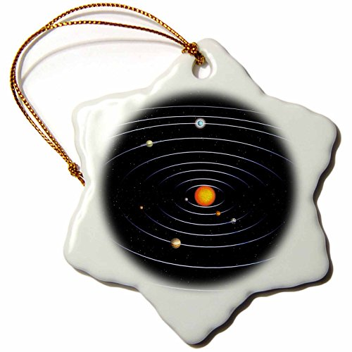 3dRose Our Solar System with All The Planets - Snowflake Ornament, Porcelain, 3-Inch (orn_200937_1)