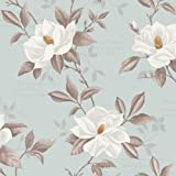 Duck Egg / Grey / White - FD31327 - Magnolia Floral Trail - Fine Decor Wallpaper