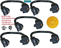 Extension Power Cable - 1-Foot, UL Listed CSA Approved, 5-Pack