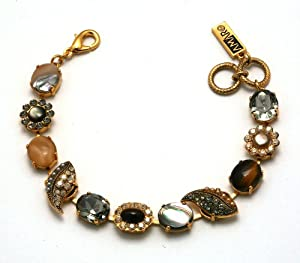 Amaro Jewelry Studio 'Aura' Collection 24K Yellow Gold Plated Bracelet Set with Flower and Leaf Links, Black Tahiti, Agate, Abalone Dyed Bronze, Tiger Eye, Pyrite and Swarovski Crystals