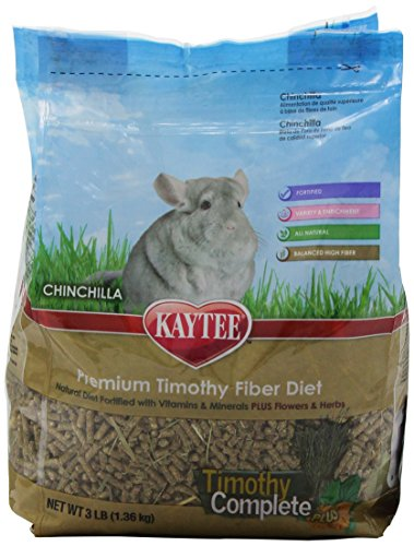 Kaytee Timothy Complete Plus Flowers and Herbs Food for Chinchillas, 3-Pound