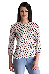 ZAIRE Women's Fashionable Polka Dotted 3/4 Sleeves Semi Georgette Top (2022-3/4TH,Off-White,XL)