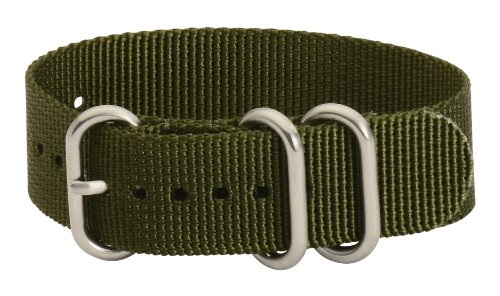 Clockwork Synergy - 3 Ring Heavy NATO Brushed Steel Watch Strap Bands (20mm, Army Green)