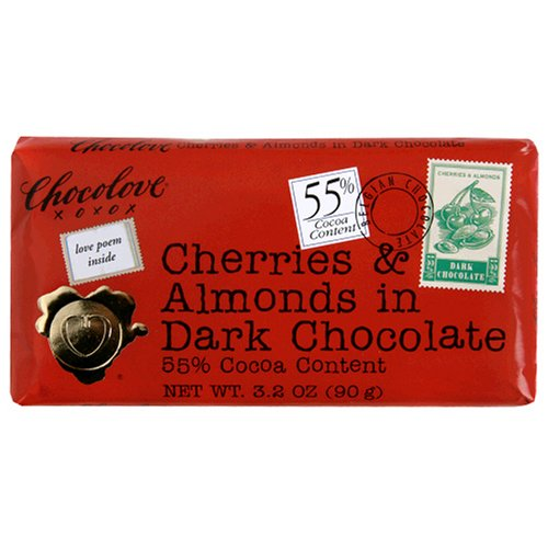 Chocolove Premium Chocolate Bars, Cherries & Almonds in Dark (55%) Chocolate, 3.2-Ounce Bars (Pack of 12)