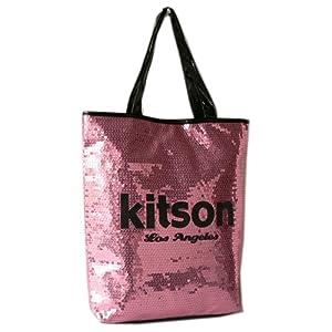 (キットソン) kitson トートバッグ スパンコール ミディアムシークインデイバッグ Sequin NS Tote bag ピンク×ブラック KHB0263 [並行輸入品]